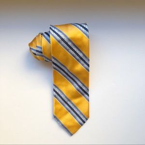 Faconnable Golden Yellow Blue Stripe Silk Tie